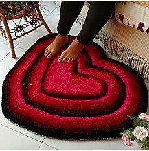 Teppich Einfache herzförmige dicke Teppich Moderne Sofa Couchtisch Teppich Kreativ rutschfeste Türmatten Wohnzimmer Halle Schlafzimmer Teppich Shaggy Teppich ( Farbe : E , größe : 70*80CM )