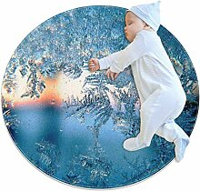 Teppich, Eisblumen, rund, für Kinderzimmer,