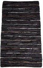 Teppich Ethno Fringe 90% Leder 10% Baumwolle