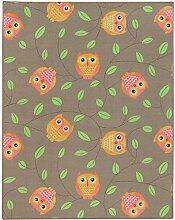 Teppich Eulen Kinderteppich Happy Owls Spielteppich 133x170 cm beige braun