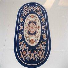 Teppich/Europäischen blauen ovalen Wohnzimmer Couchtisch Schlafzimmer Teppich-A 90x150cm(35x59inch)