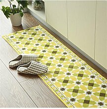 Teppich Europäischer Polyester-Teppich Verschleißfeste verdickte Matte Anti-Rutsch-Absorbent Fuß Teppich Heim Küche Teppich Lebensmittel ( Farbe : Gelb , größe : 45*180cm )