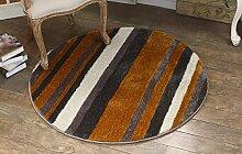 Teppich, europäischer Stil Runder Teppich Wohnzimmer Couchtisch Teppich Schlafzimmer Bedside Decke Studie Computer Stuhl Kissen Hängematte Yoga Matten (Farbe : Braun, größe : 120*120cm)