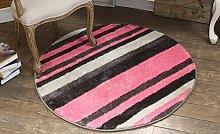 Teppich, europäischer Stil Runder Teppich Wohnzimmer Couchtisch Teppich Schlafzimmer Bedside Decke Studie Computer Stuhl Kissen Hängematte Yoga Matten ( Farbe : Pink , größe : 150*150cm )