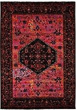 Teppich Flachflor Klassisch-Orientalisches Design Wohnzimmer - Amulett Rosa / Rot Größe 200/290 cm