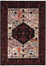 Teppich Flachflor Klassisch-Orientalisches Design Wohnzimmer - Amulett Beige/Rot Größe 120/170 cm