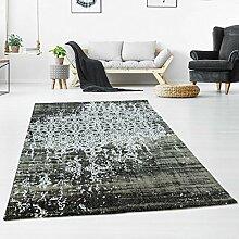 Teppich Flachflor Kurzflor Polyester Hochwertig Elegant Klassisch Ornamente Vintage Schwarz/ Weiß Größe 80/150 cm