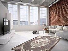 Teppich Flachflor mit Glitzer in Grau Modern