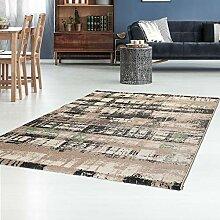 Teppich Flachflor mit Retro-Design in Jade/Grün