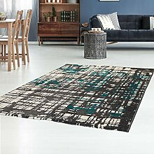 Teppich Flachflor mit Retro-Design in Petrol