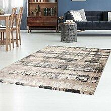 Teppich Flachflor mit Retro-Design in Taupe