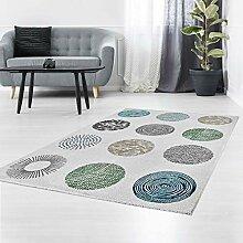 Teppich Flachflor mit Retro-Design Modern Weiß