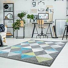 Teppich Flachflor Moda mit Geometrischen Muster in Raute-Optik in Grau, Türkis, Grün für modernes Wohnen Größe 190/280 cm