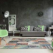 Teppich Flachflor Modern Handgeschnitten Karomuster Streifen ZickZack Meliert Größe 120/170 cm