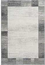 Teppich Flachflor modern meliert mit Bordüre in