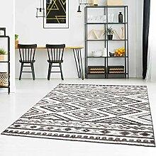 Teppich Flachflor Modern mit Ethno-Look in Grau