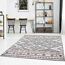 Teppich Flachflor Modern mit Ethno-Look in Rot