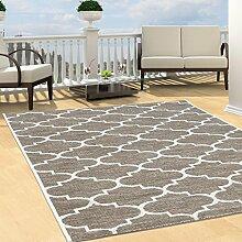 Teppich Flachflor Modern Outdoor fest Geknüpft Outside Sunset Gitter Beige 200x290 cm