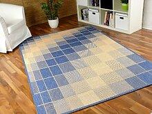 Teppich Flachgewebe Ruggy Blau Beige in 6 Größen REDUZIERT