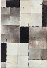 Teppich Fuson aus Kuhfell in Grau Union Rustic