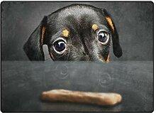 Teppich Fußmatten Hipster Black Dachshund Puppy