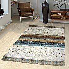 Teppich Gabbeh Loribaft Nomaden Motive Klassisch Beige Creme Bunt Meliert, Größe:200x290 cm
