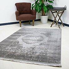 Teppich Grau Kurzflor mit Medaillon Muster Modern Designer mit Hoch-Tief Struktur (120 x 170 cm)