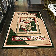 Teppich Grün Kurzflor Beige Modern Muster Blumen Läufer Günstig (80x150 cm)