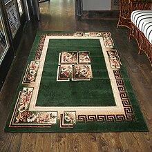 Teppich Grün Kurzflor Klassisch Muster Blumen Günstig (60x100 cm)