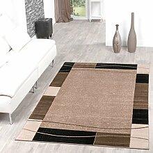 Teppich Günstig Bordüre Design Modern Wohnzimmerteppich Beige Schwarz Top Preis, Größe:190x280 cm
