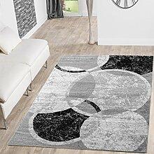 Teppich Günstig Kreis Design Modern Wohnzimmerteppich Grau Creme Schwarz Meliert, Größe:190x280 cm