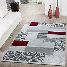 Teppich Günstig Patchwork Design Modern Wohnzimmerteppich In Grau Rot Weiß, Größe:240x340 cm