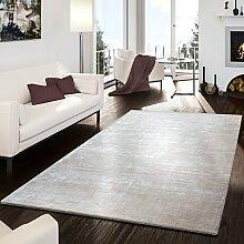 Teppich Handgemacht Modern Viskose Garn Glanz Hoch Tief Optik Meliert Creme, Größe:160x230 cm