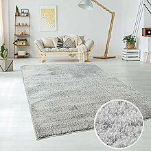 Teppich Hochflor Langflor Shaggy aus Micro-Polyester Einfarbig/ Uni in Silber/ Grau, für Wohn- oder Schlafzimmer, Größe: 120 x 170 cm