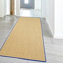Teppich Hochwertig Sisal Läufer Naturfaser farbiger Kettelung Blau 100x240 cm