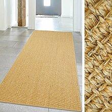 Teppich Hochwertig Sisal Läufer Naturfaser farbiger Kettelung Mocca 100x240 cm