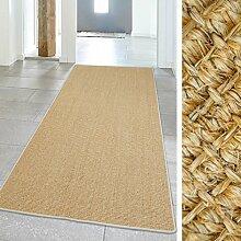 Teppich Hochwertig Sisal Läufer Naturfaser farbiger Kettelung Elfenbein 100x240 cm