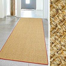 Teppich Hochwertig Siza Sisal Läufer Naturfaser Kettelung Rot 100x240cm, Größe in cm:100 x 240 cm
