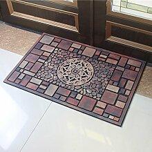 Teppich Home Outdoor Gummi Fußmatten, Foyer Teppiche Home Türmatten Türmatten (58 * 88cm) ( Farbe : A )