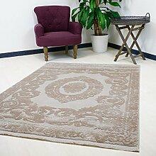 Teppich in Beige mit Medaillon Muster hochwertig gewebt Modern Look Kurzflorfür Wohnzimmer (120 x 170 cm)