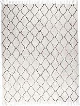 Teppich in Creme Weiß und Grau Fransen