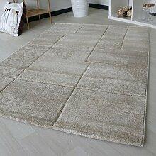 Teppich Kariert mit Marmor Design in Creme Beige Kurzflor für Wohnzimmer Modern Trendig in verschiedenen Größen mit Öko-Tex (160 x 230 cm)