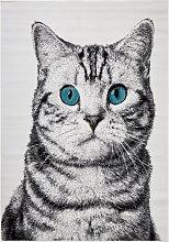 Teppich Katze, grau (80/120 cm)