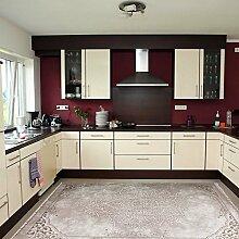 Teppich Kelim Kilim Modern Designer für Bad und Küche in Beige Rokoko Muster Vintage waschbar und rutschfest, hochwertige Webung (80cm x 300cm)