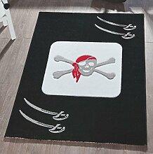 Teppich Kinderteppich 120x170cm Spielteppich Pirat Weiß/Schwarz