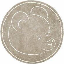 Teppich Kinderzimmer Baby Carpet modernes Design TEDDYBÄR RUG 100% Baumwolle ø 100 cm Rund Beige | Teppiche günstig online kaufen