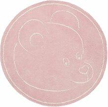 Teppich Kinderzimmer Baby Carpet modernes Design TEDDYBÄR RUG 100% Baumwolle ø 100 cm Rund Rosa | Teppiche günstig online kaufen