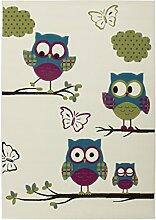 Teppich Kinderzimmer Carpet Design Eulen KIDS RUG Sona 2054 Elfenbein/Pink 80x150cm | Teppiche günstig online kaufen