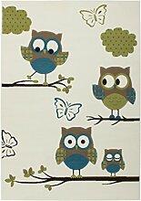 Teppich Kinderzimmer Carpet Design Eulen KIDS RUG Sona 2054 Elfenbein/Türkis 160x230cm | Teppiche günstig online kaufen