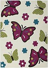 Teppich Kinderzimmer Carpet Design Schmetterling KIDS RUG Sona 2055 Elfenbein 120x170cm | Teppiche günstig online kaufen